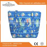 F1A shopping bags ,zippered shoulder bags, wholesale sea animals print 100% cotton quilted fabric handbags