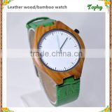New arrival japanese miyota 2035 movement wristwatches genuine leather bamboo wooden watches