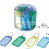 Split Ring Colorful Plastic Keychain Holder ID Tags Name Card Label