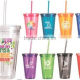 16 oz Color Changing plastic double wall tumbler with removable paper