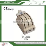 Double throw 3 pole 100A Porcelain Knife Switch