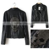 2014 New Autumn Winter Women Motorcycle Pu Leather Black Jackets Sequin Skull Blazer Coats Long Sleeve Drop Shipping