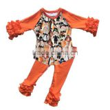 Popular style wholesale clothes Pumpkin Fabric raglan tops match icing leggings baby Halloween set