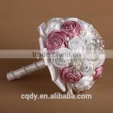 Artificial flower rose wholesale factory direct Red, Pink and Ivory Silk Rose Nosegay - Bridal Wedding Bouquet