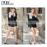 European style long sleeve gradient ramp real fur coat leather jacket with rabbit fur coats