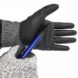 Anti Cut Level 5 13G HPPE Liner PU Dipped nocry cut resistant gloves with EN388 4543C