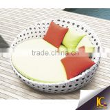Outdoor rattan furniture big round chaise lounge sofa with waterproof cushion                                                                         Quality Choice