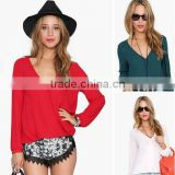 "Instyles <span class=""wholesale_product""></span> Women Blouse Spring Summer Casual Shirts Chiffon Blouse Plus Clothing"