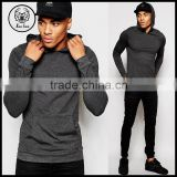 2016 Autumn Long Sleeve Light Weight Cotton Extreme Skinny Long Muscle Fitted Fleece Hoodie with Kangaroo Pocket