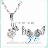 New Design metal butterfly Necklace and Earring sets For Promotion girls gifts