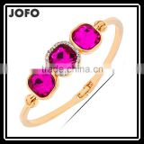 Fashion Purple Crystal Bangle Women 18k Gold Plated Bracelet Made In JOFO Jewelry Factory