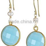 Aqua Chalcedony Faceted Coin Shape Earing Set in Vermil Gold Jewelry