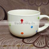 500 ML thick white stoneware ceramic soup bowl with handle                                                                         Quality Choice