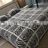 3pcs flannel fleece blanket and pillows with animal skin design super soft blanket zebra