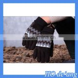 Hogift Men's gloves leather Winter Driving Cashmere Lined leather Gloves/patched leather gloves
