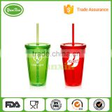 16oz BPA free FDA ,LFGB approved Double Wall Promotion Acrylic Tumbler with Lid and Straw