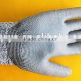[Alibaba trade insurance company] 13 gauge knitted HPPE gloves, gray PU coated cut resistant gloves
