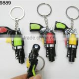 gun shape mini led pistol keychain with multi color choose