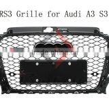 13+ ABS Chromed Black Mesh A3 front Bumper RS3 Grill for Audi S3