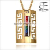 Stainless Steel Gay & Lesbian LGBT Pride Pendant Rainbow Gold Plated Hollowed-out Necklace