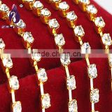 ss20(4.6-4.8mm) gold Single row Rhinestone cup chain for Decorate Fiber Clothes Shoes Bags
