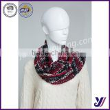 custom-made printed wool felt ncek warmer loop infinity knit pashmina scarf with button (Accept the design draft)