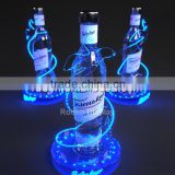 Led acrylic wine glass holder with blue accents