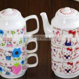 hot-selling lovely cartoon hello kitty ceramic 3-piece set ceramic stacked kettle and tea bowl mug with handle