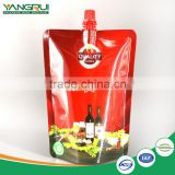 stand up spout pouch laminated aluminum foil red wine packaging bag                                                                                                         Supplier's Choice