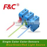 YS3 Series Color Sensors, Maker Sensing, Label Mark Detection, Blue/Red/Green Light source For choice