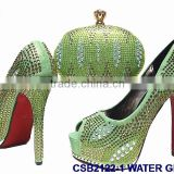 CSB2122 royal blue /yellow/pink /green high heel famous for Italy shoes matching bags with stones and crystal for party
