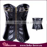 wholesale high quality waist training corset new design plus size corset sexy over bust black leather corsets