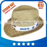 Wholesale Chinese cheap promotion plain custom mens narrow brim summer natural straw cool sun hat