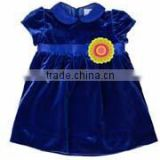 handmade dress toddler girls royal blue stretch velvet dress satin trim flowers hot dress kids girls