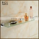 Multi-Purpose Zinc Alloy Chrome Plated Wall Mounted Bathroom Accessories Glass Shelf With Bar