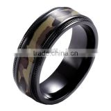 Titanium inlay with Camouflage wood Ring camo jewelry