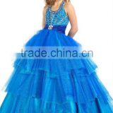 Halter blue elegant backless many beads with pleated waistband flower girl dresses CWFaf4227