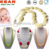Non-toxic silicone beaded teething necklace for baby chewing