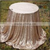 Elegant wedding 100% polyester champagne sequin wedding table cloth sequin table overlay