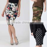 Solid Color Pencil Skirt / Camo Pencil Skirt / Polka Dot Pencil Long layered Tiered Skirts pencil pull