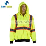 2017 New Design reflective hooded fluorescent sweatshirt for men