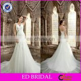 CE495 Sexy V-Neck Backless Appliqued Lace Fitted Mermaid White Tulle Beijing Wedding Dress