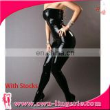 wholesale women's faux leather jumpsuit lingerie high quality sequin jumpsuit wet look
