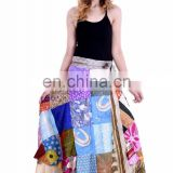 India Handmade Ethnic Rapron Patchwork Long Rapron Beach skirt Silk Sarong long skirt ladies hippie designer rapron skirt
