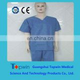 Blue disposable PE PP SMS non-woven surgical Gown