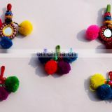 Indian handmade Banjara Pom Pom Key chain/Vintage Mirror Zip puller for bag and purse Xmas Offer...2015..