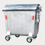 Factory Sale 1100L Dome Lid Hot Dip Galvanized Metal Wheelie Waste Container Urban ISO Certificated