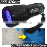 9 UV led flashlight ,360nm 365nm 370nm 380nm UV LED Torch