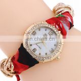 new design hot selling fabric lace Bracelet watch fashion fabirc wristbands with crystal quartz watch bracelet gifts for her