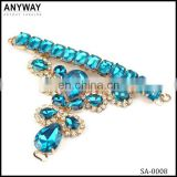 Ladies sandal material metal beaded accessories for shoes uppers